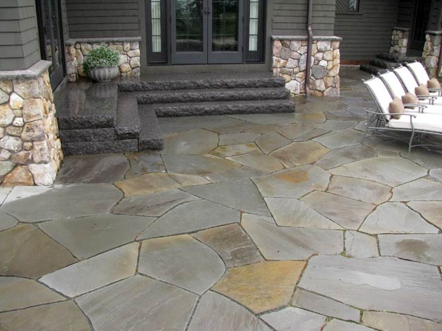 ... Large Irregular Shaped Bluestone Patio Set In Stone Dust, With  Caledonia Granite Steps ...